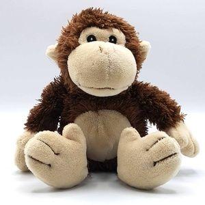 Baby Aspen brown sitting monkey rattle plush lovey